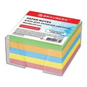 Блок для записей Brauberg в прозрачной подставке, цветной (9х9х5 см)