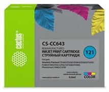 Струйный картридж Cactus CS-CC643 (HP 121) цветной для HP DeskJet D1663, D2500, D2563, D2663, D5563, F2423, F2483, F2493, F4213, F4275, F4280, F4283, F4583; ENVY 110; PhotoSmart C4683, C4783 (9 мл)