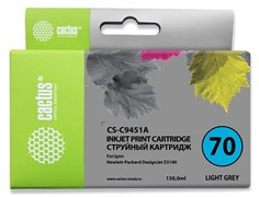 Струйный картридж Cactus CS-C9451A (HP 70) светло-серый для HP DesignJet Z2100, Z2100gp, Z3100, Z3100gp, Z3100ps gp, Z3200, Z3200ps, Z5200, Z5400 ePrinter, Z5400ps PostScript (130 мл)