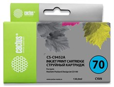 Струйный картридж Cactus CS-C9452A (HP 70) голубой для HP DesignJet Z2100, Z2100gp, Z3100, Z3100gp, Z3100ps gp, Z3200, Z3200ps, Z5200, Z5400 ePrinter, Z5400ps PostScript (130 мл)