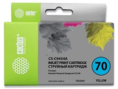 Струйный картридж Cactus CS-C9454A (HP 70) желтый для HP DesignJet Z2100, Z2100gp, Z3100, Z3100gp, Z3100ps gp, Z3200, Z3200ps, Z5200, Z5400 ePrinter, Z5400ps PostScript (130 мл)