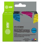Струйный картридж Cactus CS-CC644 (HP 121XL) цветной увеличенной емкости для HP DeskJet D1663, D2500, D2563, D2663, D5563, F2423, F2483, F2493, F4213, F4275, F4280, F4283, F4583; ENVY 110; PhotoSmart C4683, C4783 (18 мл)