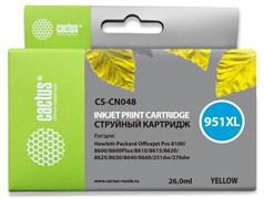 Струйный картридж Cactus CS-CN048 (HP 951XL) желтый увеличенной емкости для HP OfficeJet 251dw Pro, 276dw Pro, 8100 Pro, 8100e, 8600 Pro (N911a), 8600 Pro Plus (N911g), 8610 Pro (A7F64A), 8615 Pro, 8616 Pro, 8620 Pro (A7F65A) (26 мл)