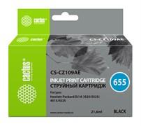 Струйный картридж Cactus CS-CZ109AE (HP 655) черный для HP DeskJet Ink Advantage 3525, Ink Advantage 4615, Ink Advantage 4625, Ink Advantage 5520 series, Ink Advantage 5525, Ink Advantage 6525 (21,6 мл)