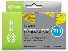 Струйный картридж Cactus CS-CZ132 (HP 711) желтый увеличенной емкости для HP DesignJet T120, T520 A0, T520 A1 (26 мл)