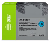 Струйный картридж Cactus CS-C9362 (HP 132) черный для HP DeskJet 5400, 5440, D4160, D4163; OfficeJet 6310, 6315; PhotoSmart 2575, 7850, C3110, C3125, C3140, C3170, C3190, C4110, C4140, C4150, C4170, C4190; PSC 1503, 1510, 1513 (7 мл)