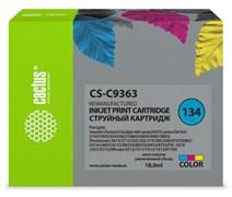 Струйный картридж Cactus CS-C9363 (HP 134) цветной для HP DeskJet 5740, 6540, 9800; OfficeJet 100, K7100; PhotoSmart 2570, 385, 475, 7850, 8050, 8100, 8700, D5063, PRO B8350; PSC 1600, 1610, 2350 (18 мл)