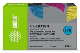 Струйный картридж Cactus CS-CB318N (HP 178) голубой для HP DeskJet 3070A B611, 3522; PhotoSmart 5510 B111, 5520, 7520, B010, B110, B209, B210, B8553, C309, C310, C410, C5300, C5380, C5383, C6383, D5460, D5463 (5 мл)