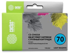 Струйный картридж Cactus CS-C9455A (HP 70) светло-пурпурный для HP DesignJet Z2100, Z2100gp, Z3100, Z3100gp, Z3100ps gp, Z3200, Z3200ps, Z5200, Z5400 ePrinter, Z5400ps PostScript (130 мл)