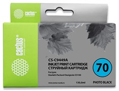 Струйный картридж Cactus CS-C9449A (HP 70) фото-черный для HP DesignJet Z2100, Z2100gp, Z3100, Z3100gp, Z3100ps gp, Z3200, Z3200ps, Z5200, Z5400 ePrinter, Z5400ps PostScript (130 мл)
