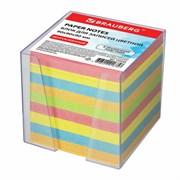 Блок для записей цветной Brauberg в прозрачной подставке, (куб 9х9х9 см)