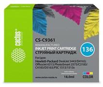 Струйный картридж Cactus CS-C9361 (HP 136) цветной для HP DeskJet 5400, 5440, D4160, D4163; OfficeJet 6310, 6315; PhotoSmart 2575, 7850, C3110, C3125, C3140, C3170, C3190, C4110, C4140, C4150, C4170, C4190; PSC 1503, 1510, 1513 (18 мл)