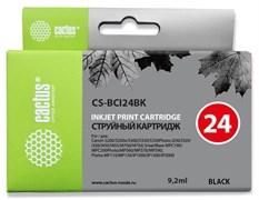 Струйный картридж Cactus CS-BCI24BK (BCI-24) черный для Canon BJ S330, i250, i255, i320, i350, i355, i450, i455, i470, i475, i475d, imageClass MP360, MP370, MP390, MPC190, MPC200, MultiPass C190, C200, F20, MP360, MP370 (9,2 мл)