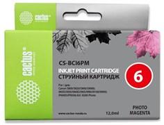 Струйный картридж Cactus CS-BCI6PM (BCI-6PM) светло-пурпурный для Canon S800, S820, S900, S9000, i550, i560, i860, i865, i905d, i950s, i960x, i965, i990, i9100, i9950, JX500, MP750, MP760, iP600d, iP3000, iP600d, iP8500, BJC8200 (12 мл)