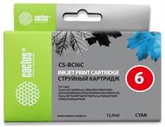 Струйный картридж Cactus CS-BCI6C (BCI-6C) голубой для Canon S800, S820, S900, S9000, i550, i560, i860, i865, i905d, i950s, i960x, i965, i990, i9100, i9950, JX500, MP750, MP760, iP600d, iP3000, iP600d, iP8500, BJC8200 (12 мл)