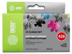 Струйный картридж Cactus CS-CLI426C/M/Y (CLI-426CMY) цветной для Canon Pixma iP4840, iP4940, iX6540, MG5140, MG5240, MG5340, MG6140, MG6240, MG8140, MG8240, MX714, MX884, MX894 (3 x 8,4 мл)