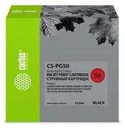 Струйный картридж Cactus CS-PG50 (PG-50) черный для Canon Fax JX200, JX210, JX500, JX510; Canon Pixma iP2200, iP2400, MP150 MultiPass, MP160 MultiPass, MP170 MultiPass, MP180, MP450 MultiPass, MP460, MX300, MX310 (18 мл)