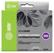 Струйный картридж Cactus CS-LC980BK (LC980BK) черный для принтеров Brother DCP-145C, 163C, 165C, 167C, 195C, 197C, 365CN, 375CW, 377CW, MFC-250C, 255CW, 257CW, 290C, 295CN, 297C (16 мл)