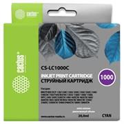 Струйный картридж Cactus CS-LC1000C (LC1000C) голубой для принтеров Brother DCP-130C, 330C, 350C, 357C, 540CN, 560CN, 750CW, 770CW, MFC-240C, 440CN, 465CN, 660CN, 680CN, 845CW, 885CW, 3360C, 5460CN (20 мл)
