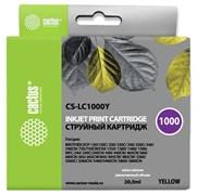 Струйный картридж Cactus CS-LC1000Y (LC1000Y) желтый для принтеров Brother DCP-130C, 330C, 350C, 357C, 540CN, 560CN, 750CW, 770CW, MFC-240C, 440CN, 465CN, 660CN, 680CN, 845CW, 885CW, 3360C, 5460CN (20 мл)