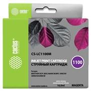 Струйный картридж Cactus CS-LC1100M (LC1100M) пурпурный для принтеров Brother DCP-185c, 383c, 385c, 387c, 395cn, 585cw, J715w, 6690cw, MFC-490cw, J615w, 790cw, 795cw, 990cw, 5490cn, 5890cn, 5895cw, 6490c (16 мл)