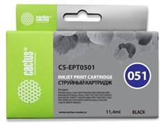 Струйный картридж Cactus CS-EPT0501 (T0501) черный для Epson PM 600, 670, 680, 700, 750, 770, 2000; Epson Stylus Color 400, 440, 460, 500, 600, 640, 650, 660, 670, 700, 750; Epson Stylus Photo 700, 710, 720, 750, 1200, EX2, EX3 (11,4 мл)