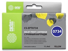 Струйный картридж Cactus CS-EPT0734 (T0734) желтый для Epson Stylus C79, C110, CX3900, CX4900, CX5900, CX7300, CX8300; Epson Stylus Office T30, T40, TX300, TX510, TX600, TX200, TX210, TX219, TX400, TX410, TX550 (11,4 мл)
