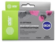Струйный картридж Cactus CS-EPT0826 (T0826) светло-пурпурный для Epson Stylus Photo R270, R290, R295, R390, RX590, RX610, RX615, RX690, TX650, TX659, TX700w, TX710w, TX800fw, T50, T59 (13,8 мл)