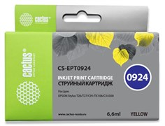 Струйный картридж Cactus CS-EPT0924 (T0924) желтый для принтеров Epson Stylus C91, C240, CX4300, T26, T27, TX106, TX109, TX117, TX119 (6,6 мл)