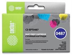 Струйный картридж Cactus CS-EPT0487 (T0487) набор для Epson PM A870, D770; Stylus Photo R200, R210, R220, R300, R300M, R310, R320, R330, R340, R350, RX300, RX320, RX500, RX510, RX600, RX620, RX630, RX640 (10,6 мл + 5 x 14,4 мл)