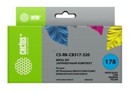 Заправочный набор Cactus CS-RK-CB317-320 многоцветный для HP PhotoSmart B8553, C5383, C6383, D5463, 5510 (4*30ml)