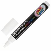 """Маркер меловой BRAUBERG """"POP-ART"""", белый, сухостираемый для гладких поверхностей, 5 мм"""