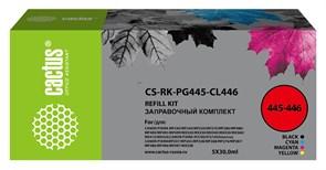 Заправочный набор Cactus CS-RK-PG445-CL446 черный/голубой/пурпурный/желтый набор для Canon Pixma MG2440, MG2540 (4x30 мл)