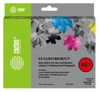 Комплект струйных картриджей Cactus CS-CLI451BK/M/C/Y набор для Canon MG6340, 5440, IP7240 (4x10.2 мл)