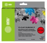 Комплект струйных картриджей Cactus CS-CLI471XLBK/M/C/Y набор для Canon TS5040, MG5740, MG6840, MG7740 (4x10.8 мл)