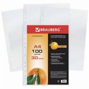 Папки-файлы перфорированные, А4, BRAUBERG, комплект 100 шт., матовые, 30 мкм