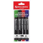 Маркеры для флипчарта Brauberg, набор 4 шт., непропитывающие, круглые