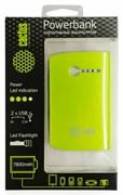 Мобильный аккумулятор Cactus CS-PBX3-7800WG 7800mAh 1A+2.1A зеленый/белый